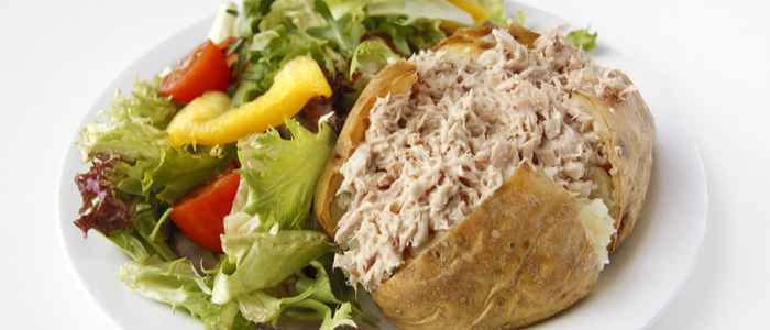 healthy snack - tuna jacket potato