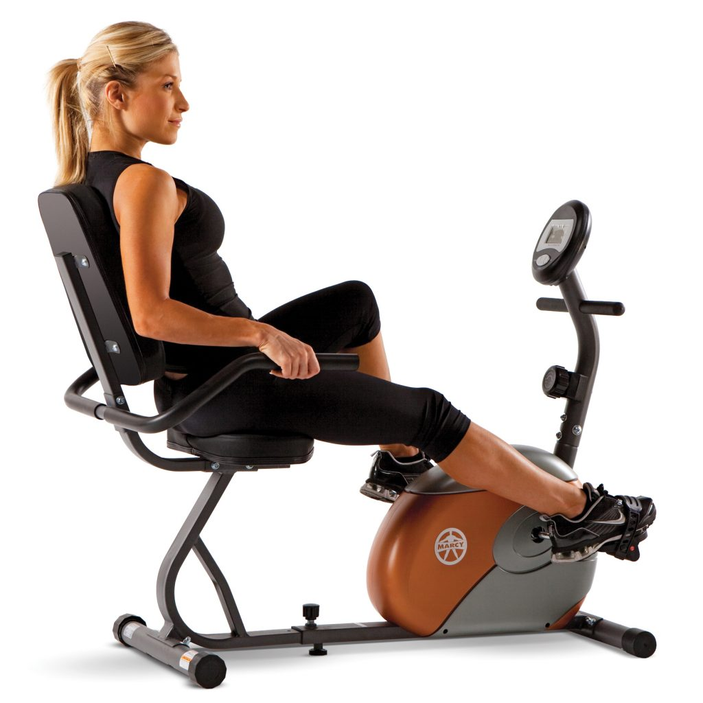 Woman on the ME709 recumbent exercise bike