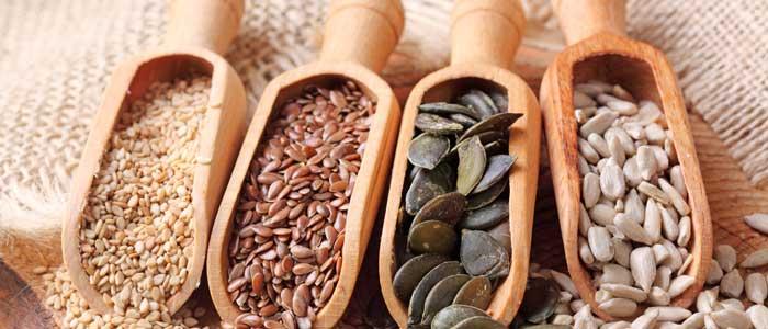 4 piles of seeds