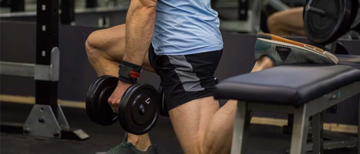 Man doing Bulgarian split squats