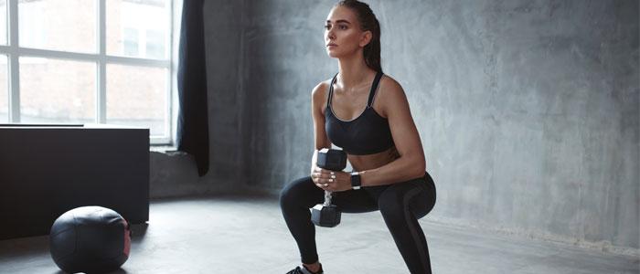 Woman doing goblet squats