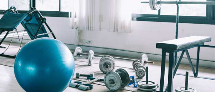 Image of a gym with equipment out