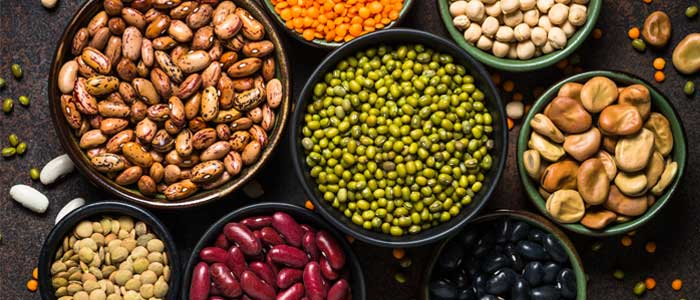nuts and legumes in bowls