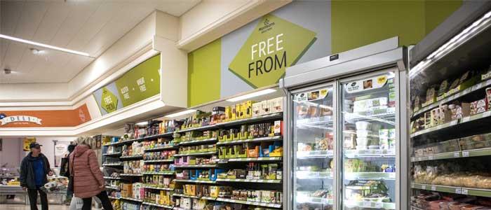 gluten free shelves in a super market