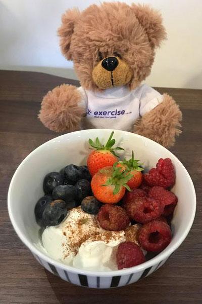 PT the bear eating fruit and yogurt