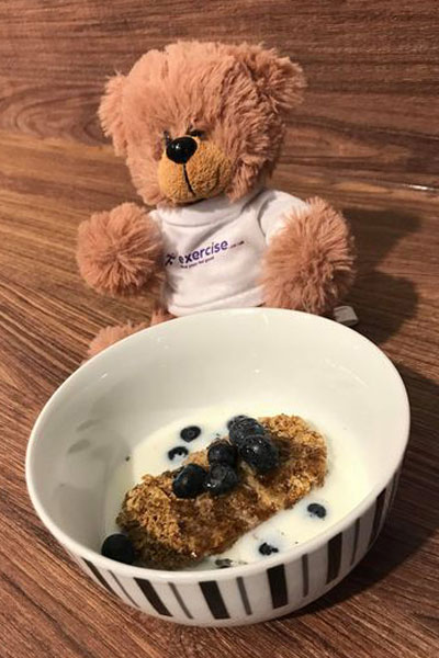 PT the bear eating weetabix and fruit