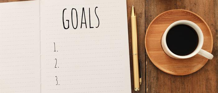 a notebook showing goals