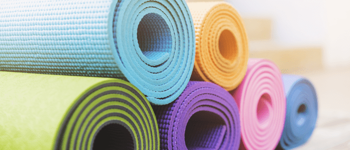 pile of yoga mats