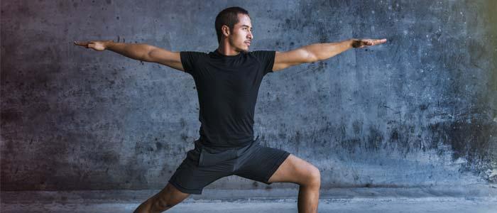 man doing warrior pose