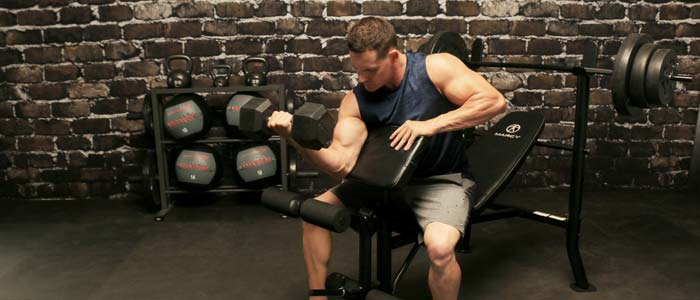 man doing dumbbells lifts on a bench