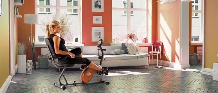 woman on a recumbent bike