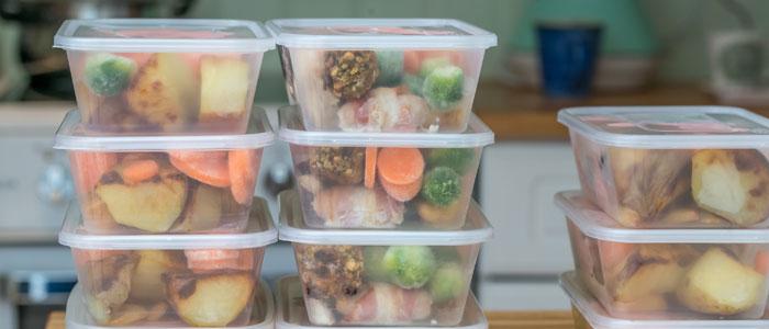 Tupperware of frozen meals
