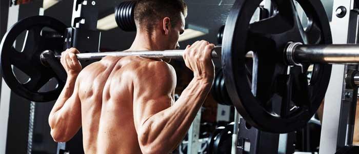 Man doing barbell shoulder press