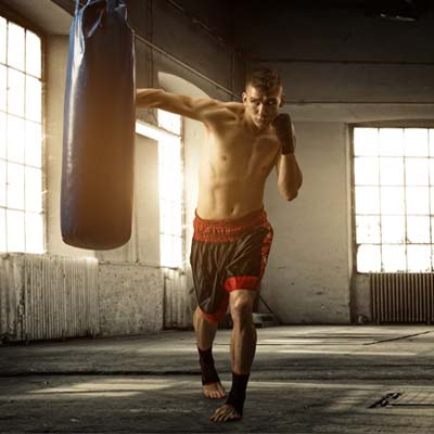 Man training with a boxing bag