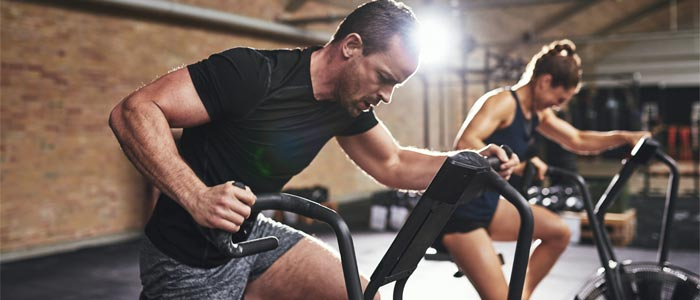 Man doing cardio training at the gym