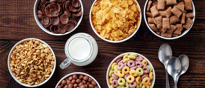 Several bowls of cereals
