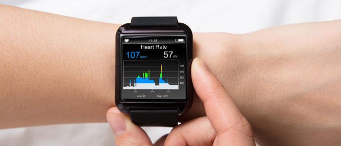 Wrist showing a smartwatch