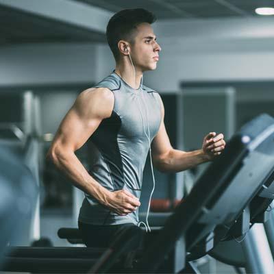 man training on a treadmill