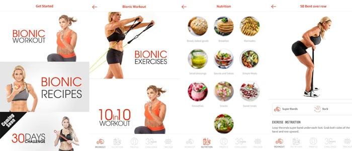 bionic body app home page, recipe page and workout page