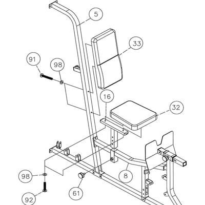 Blown up diagram of a multi-gym seat area