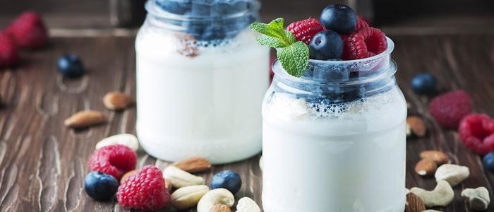Two jars of yoghurt and fruit