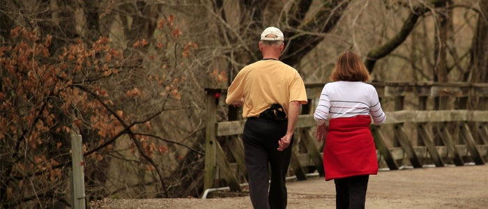 Couple walking outside in nature