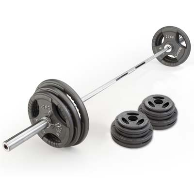 tri-grip weight plates on a barbell