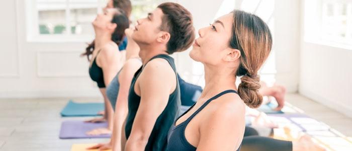 Row of people doing yoga