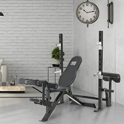 a marcy weight bench in a home setting