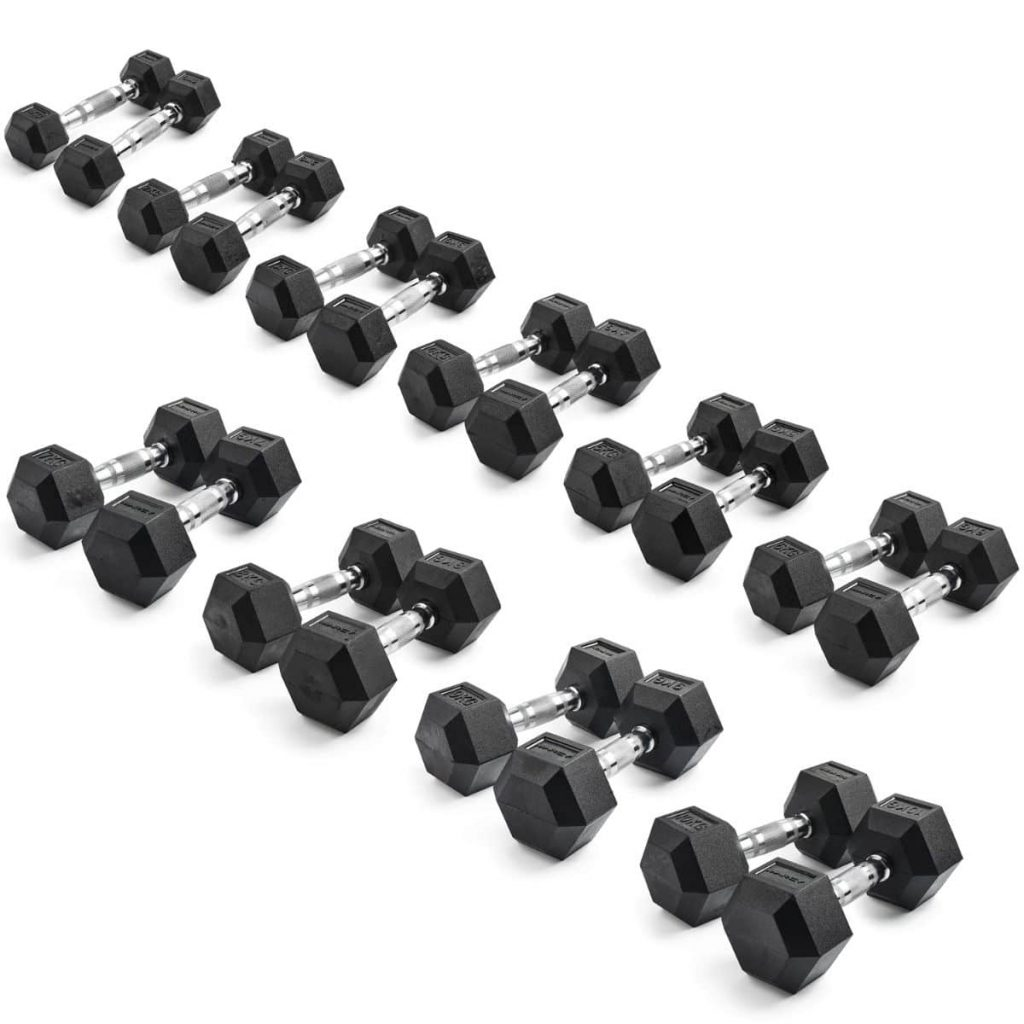 Marcy Hex Rubber Dumbbell Set 1kg-10kg (10 Pairs)