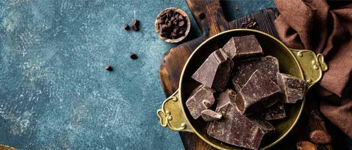 a bowl of dark chocolate