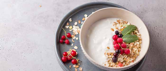 bowl of greek yoghurt with oats and fruit
