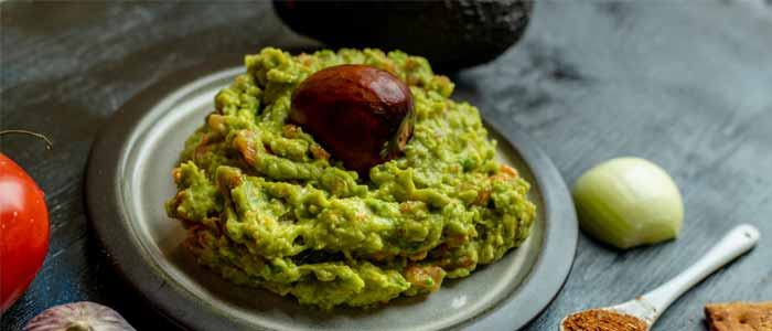 healthy snacks; a small plate of guacamole