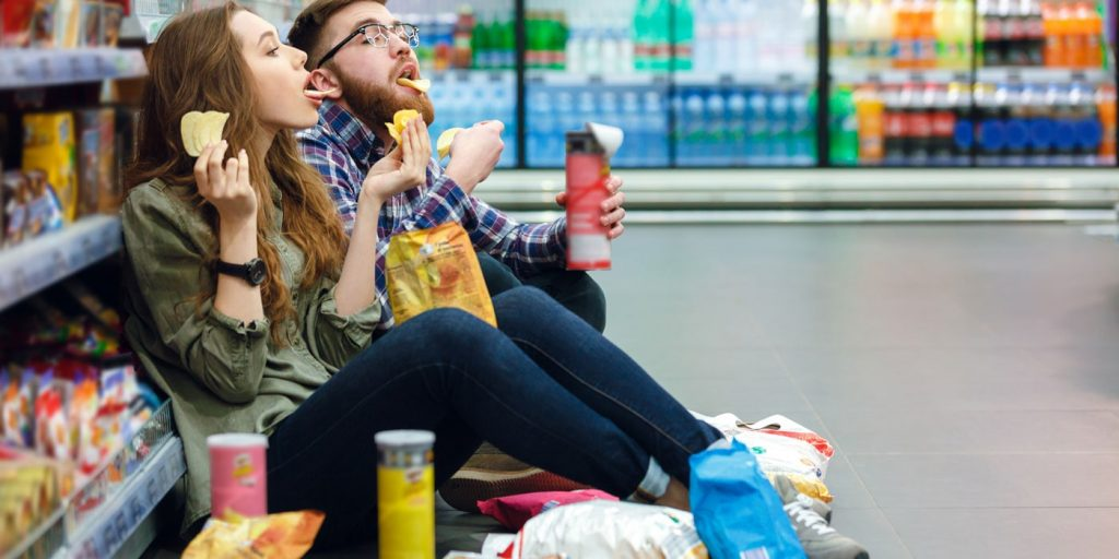 people eating unhealthy food, showing a bad habit