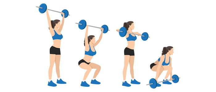 woman demonstrating the clean and jerk weightlifting move