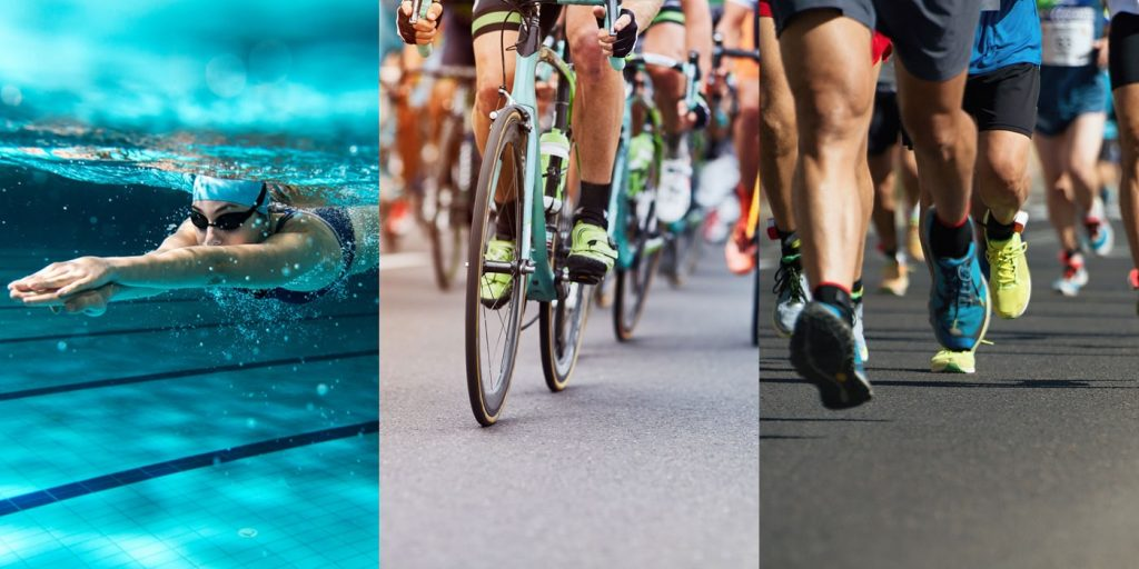 what makes up a triathlon: woman swimming, people cycling and people running