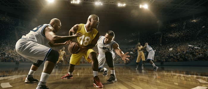 Three men playing basketball. One man with the ball, preparing to shoot, the other two trying to defend.