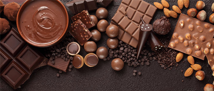 a platter of different types of chocolates