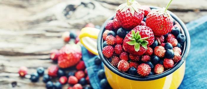 pot of various berries