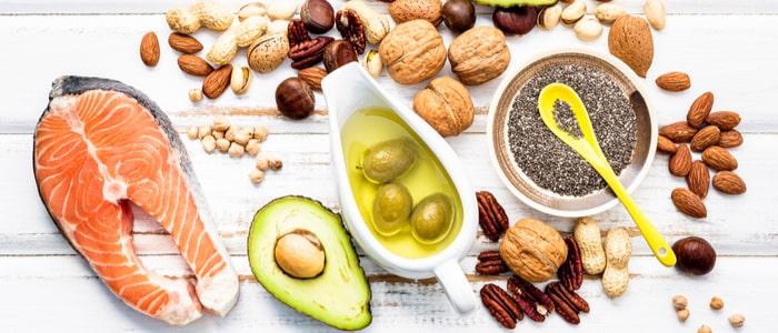 Foods high healthy fats like, salmon, avocado and nuts.